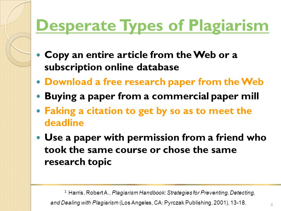 Desperate Types of Plagiarism Copy an entire article from the Web or a subscription online database Download a free research paper from the Web Buying