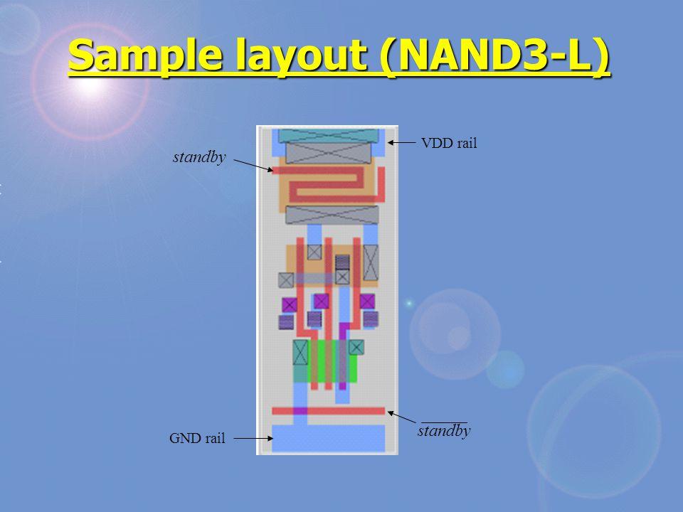 Sample layout (NAND3-L) standby VDD rail GND rail