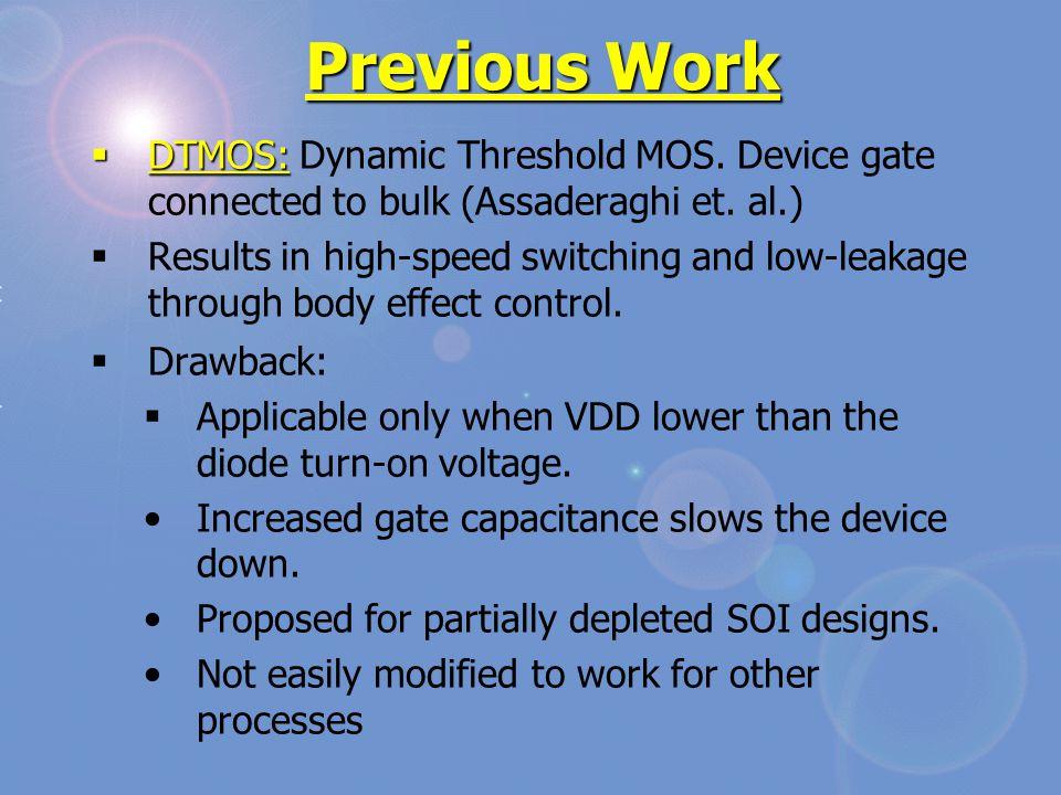 Previous Work  DTMOS:  DTMOS: Dynamic Threshold MOS.