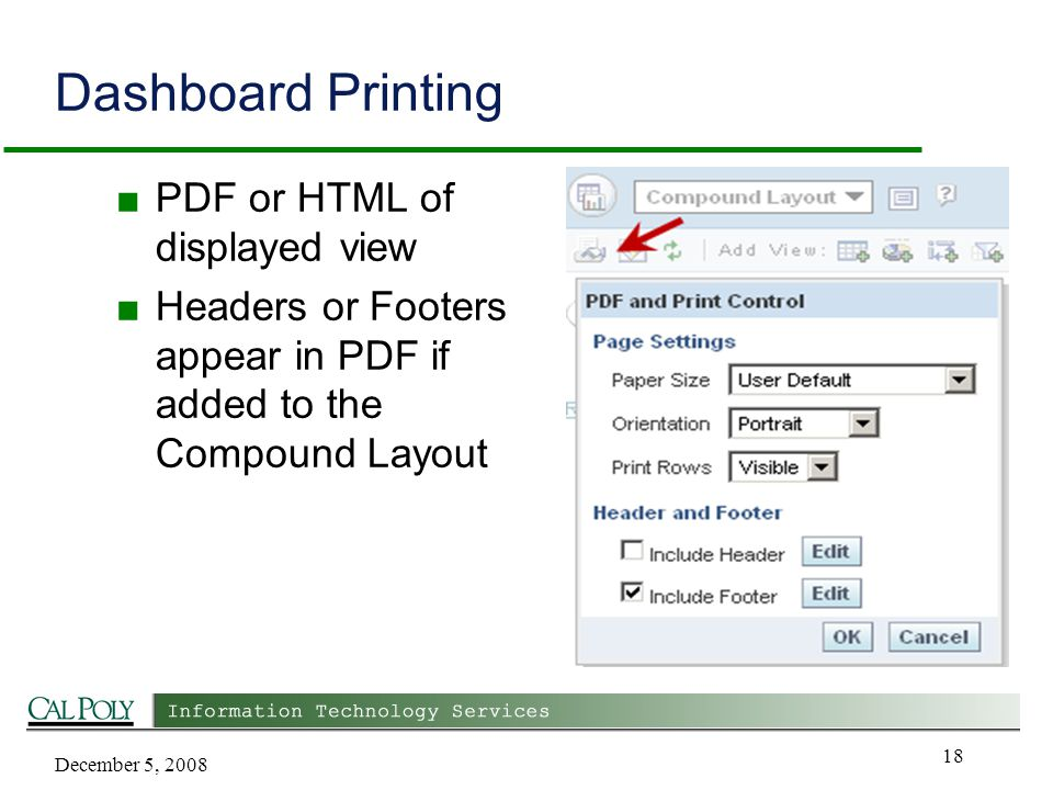 December 5, 2008 18 Dashboard Printing ■ PDF or HTML of displayed view ■ Headers or Footers appear in PDF if added to the Compound Layout