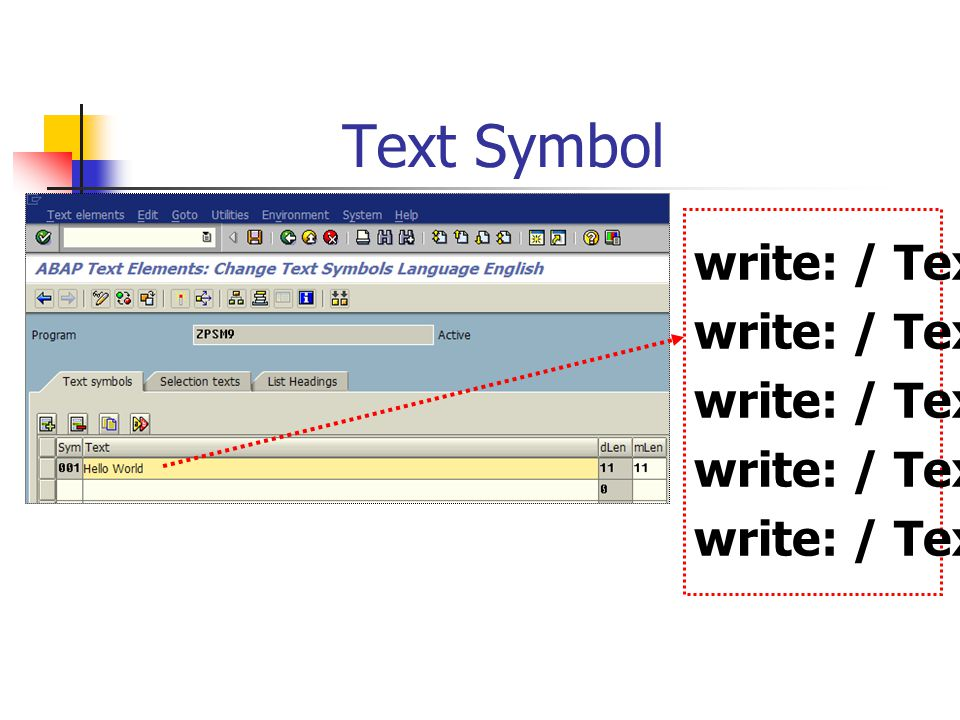 Text Symbol write: / Text-001.