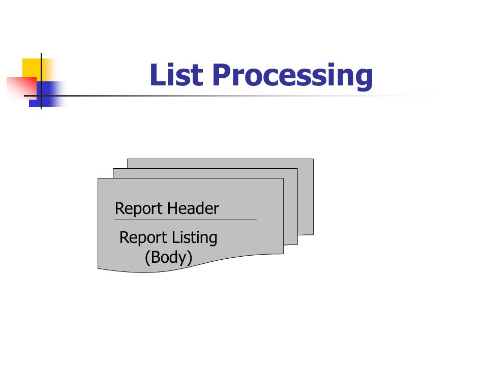 List Processing Report Header Report Listing (Body)