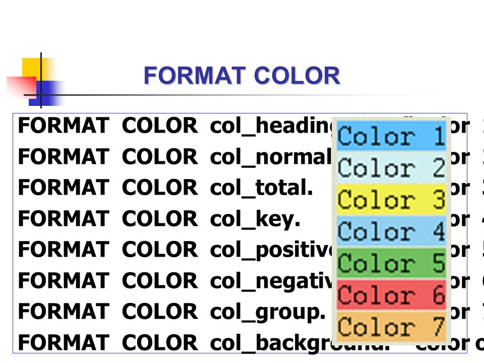 "FORMAT COLOR FORMAT COLOR col_heading. ""color 1 FORMAT COLOR col_normal. ""color 2 FORMAT COLOR col_total. ""color 3 FORMAT COLOR col_key. ""color 4 FORM"