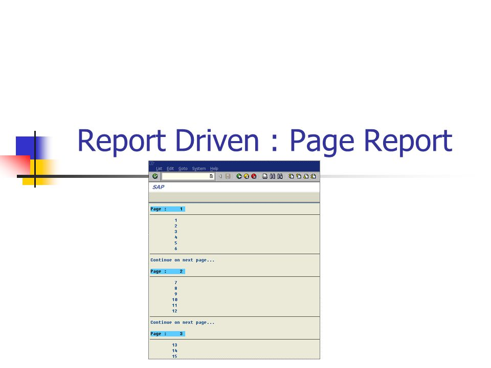 Report Driven : Page Report