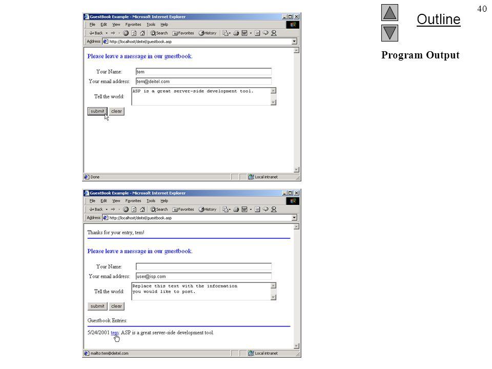 Outline 40 Program Output