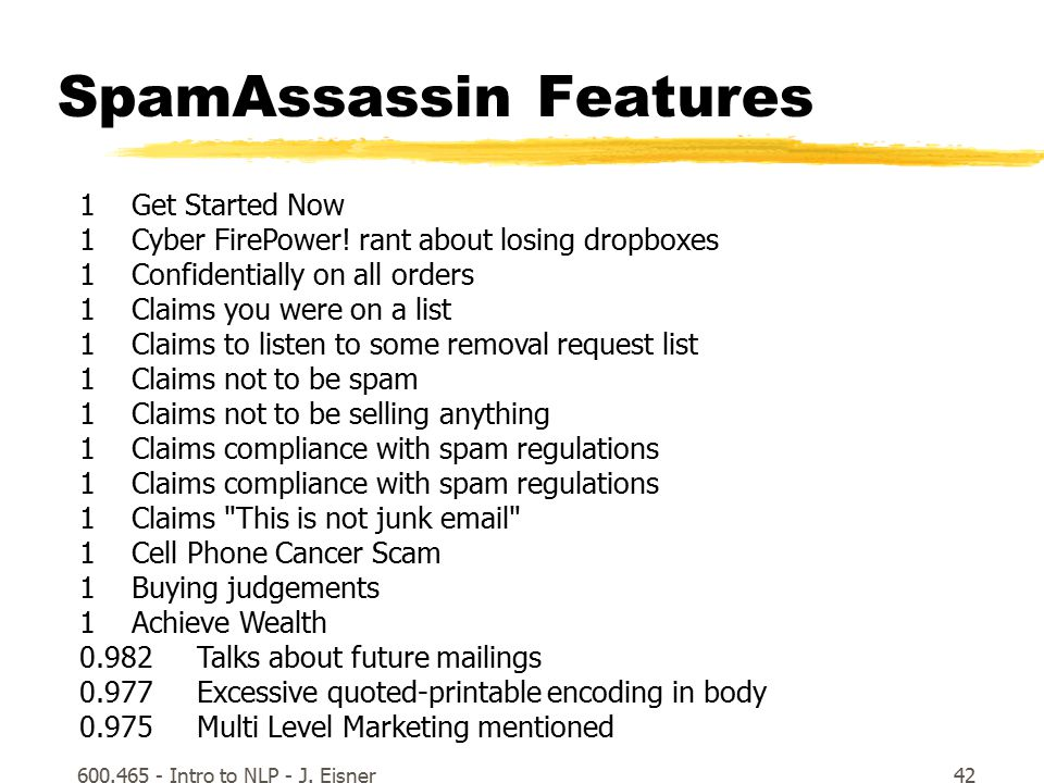 600.465 - Intro to NLP - J. Eisner42 SpamAssassin Features 1 Get Started Now 1 Cyber FirePower.