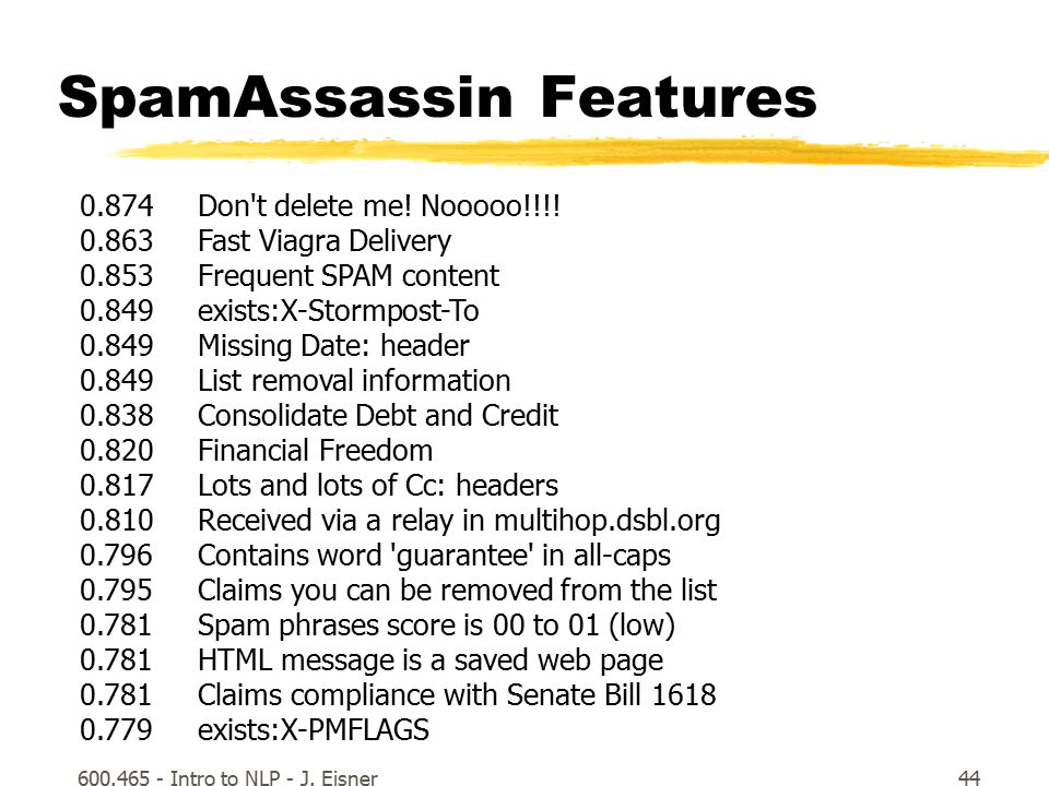 600.465 - Intro to NLP - J. Eisner44 SpamAssassin Features 0.874 Don t delete me.