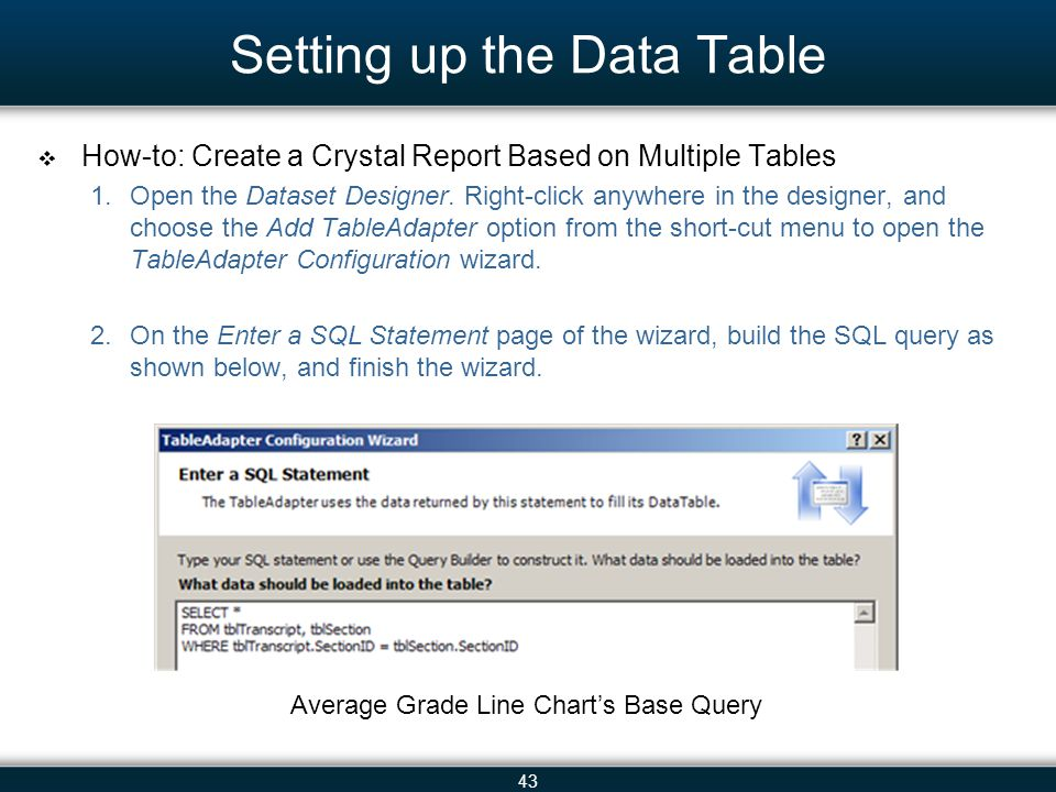 43 Setting up the Data Table  How-to: Create a Crystal Report Based on Multiple Tables 1.Open the Dataset Designer. Right-click anywhere in the desig