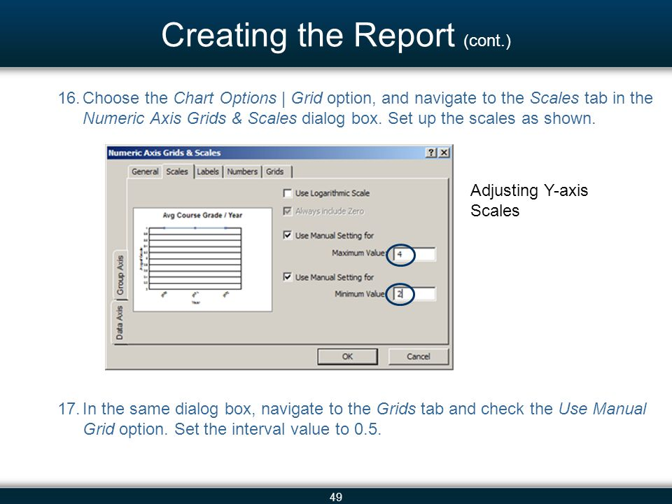 49 Creating the Report (cont.) 16.Choose the Chart Options | Grid option, and navigate to the Scales tab in the Numeric Axis Grids & Scales dialog box