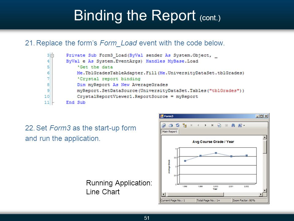 51 Binding the Report (cont.) 21.Replace the form's Form_Load event with the code below. 22.Set Form3 as the start-up form and run the application. Ru
