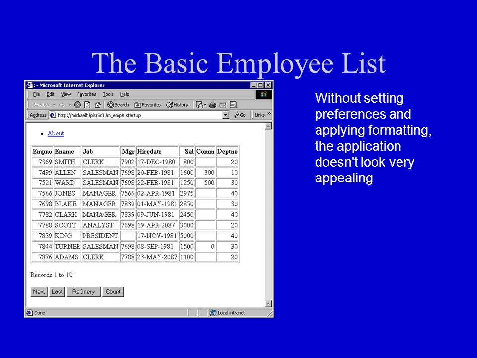 The Basic Employee List Without setting preferences and applying formatting, the application doesn't look very appealing