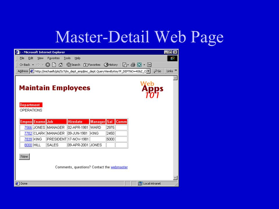 Master-Detail Web Page