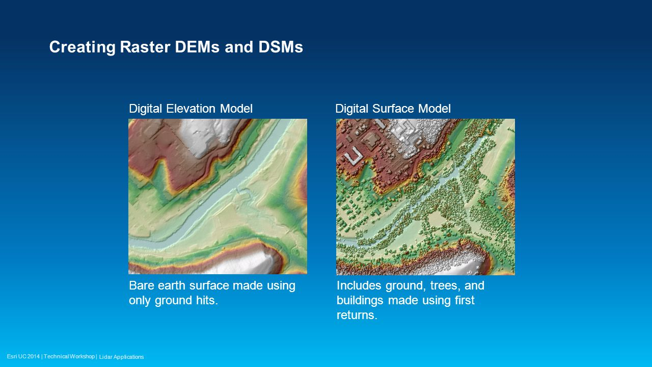 Esri UC 2014 | Technical Workshop | Creating Raster DEMs and DSMs Bare earth surface made using only ground hits.