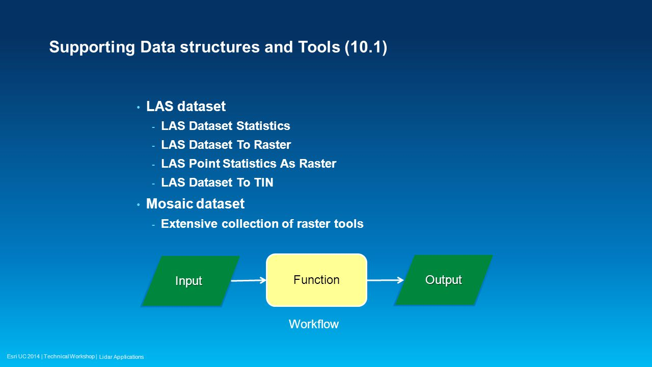 Esri UC 2014 | Technical Workshop | Point to Raster Tool Used after points are loaded into geodatabase More detailed assessment than Point File Information Based on actual points loaded (i.e., filtered by class code or return) rather summary of entire file.