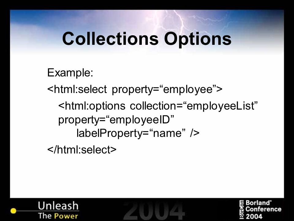 Collections Options Example: