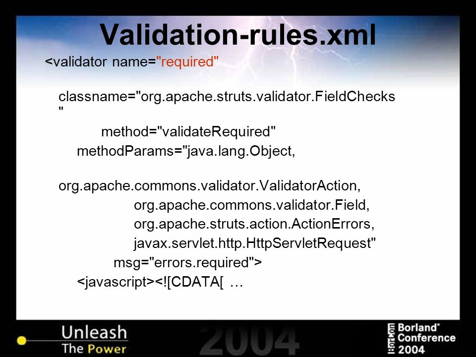 Validation-rules.xml <validator name=