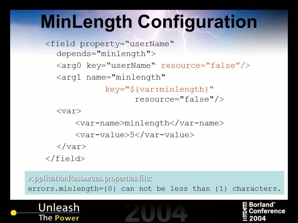 MinLength Configuration <arg1 name=