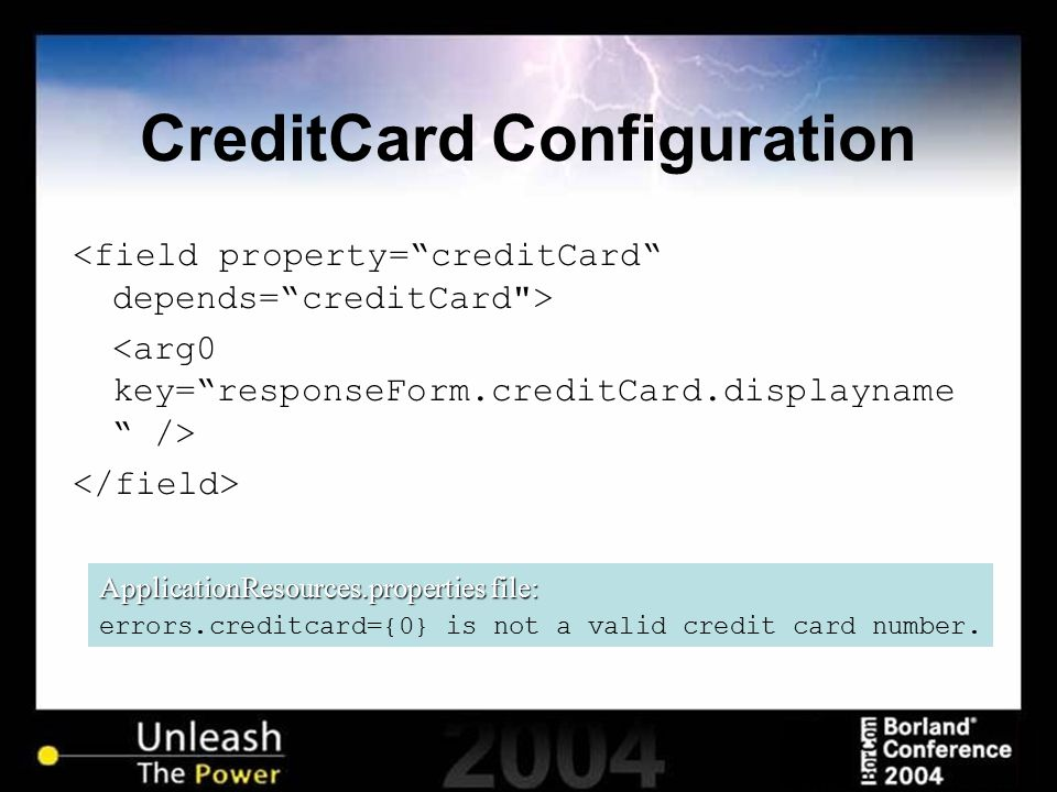 CreditCard Configuration ApplicationResources.properties file: errors.creditcard={0} is not a valid credit card number.