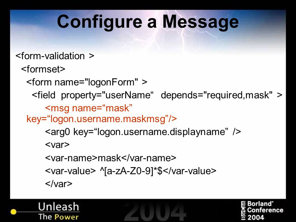 Configure a Message mask ^[a-zA-Z0-9]*$ …