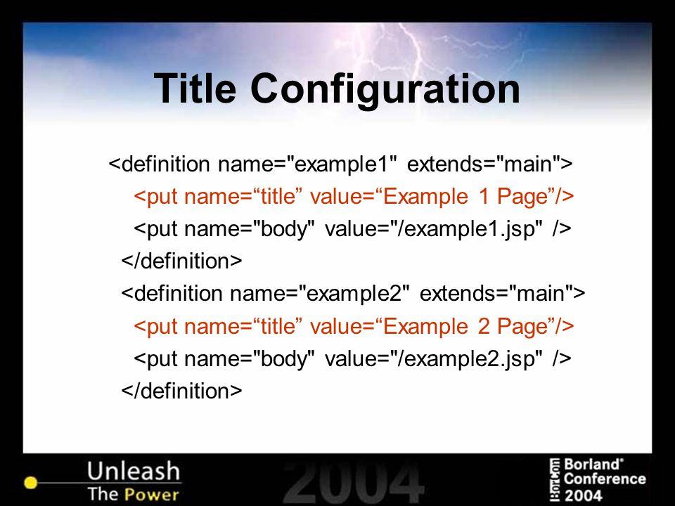 Title Configuration
