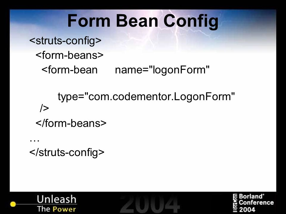 Form Bean Config <form-bean name=