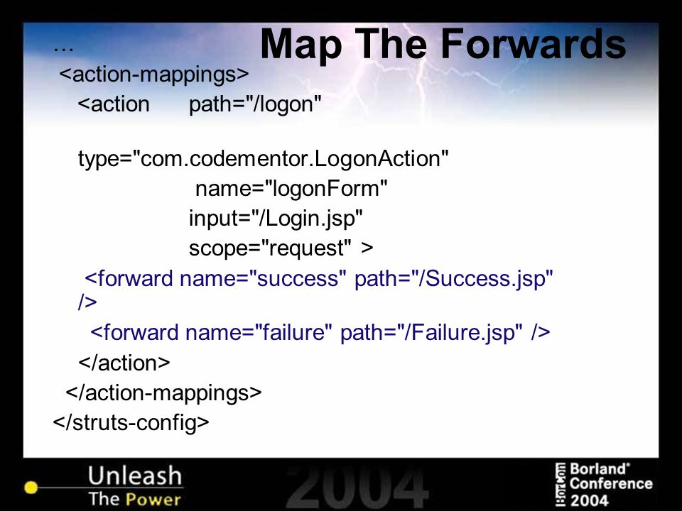 Map The Forwards … <action path=