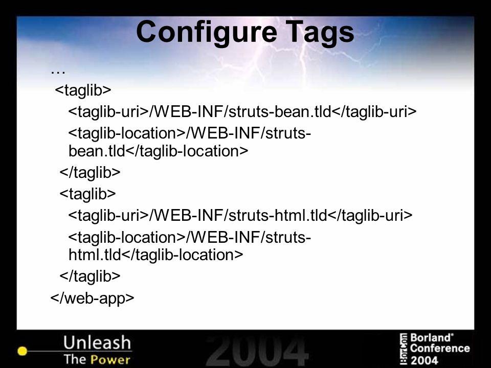 Configure Tags … /WEB-INF/struts-bean.tld /WEB-INF/struts-html.tld