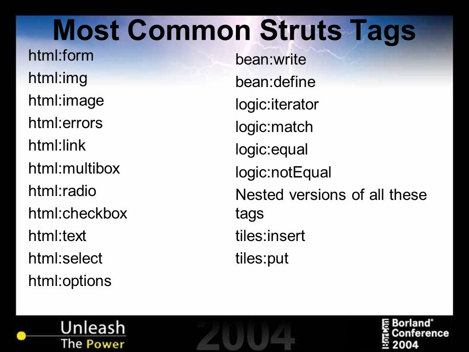Most Common Struts Tags html:form html:img html:image html:errors html:link html:multibox html:radio html:checkbox html:text html:select html:options
