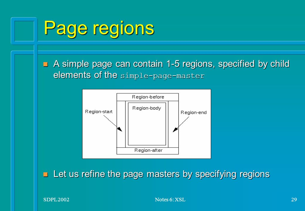 SDPL 2002Notes 6: XSL29 Page regions A simple page can contain 1-5 regions, specified by child elements of the simple-page-master A simple page can contain 1-5 regions, specified by child elements of the simple-page-master n Let us refine the page masters by specifying regions