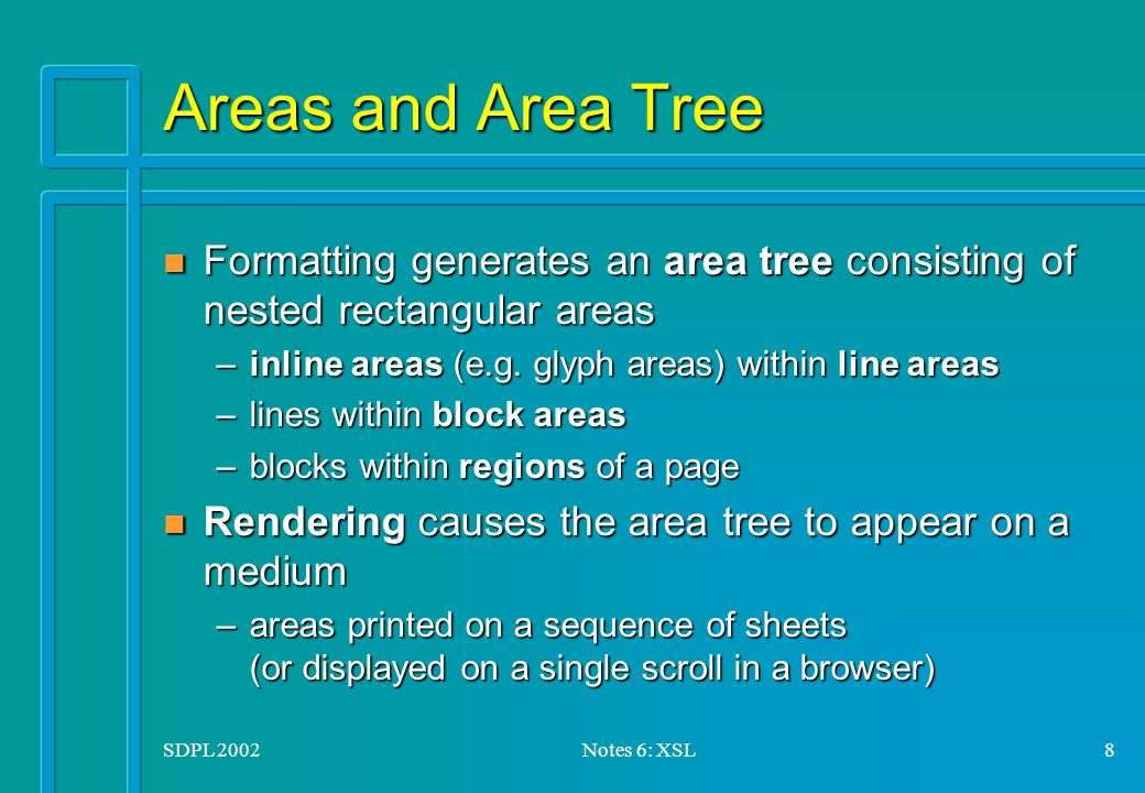 SDPL 2002Notes 6: XSL8 Areas and Area Tree n Formatting generates an area tree consisting of nested rectangular areas –inline areas (e.g.