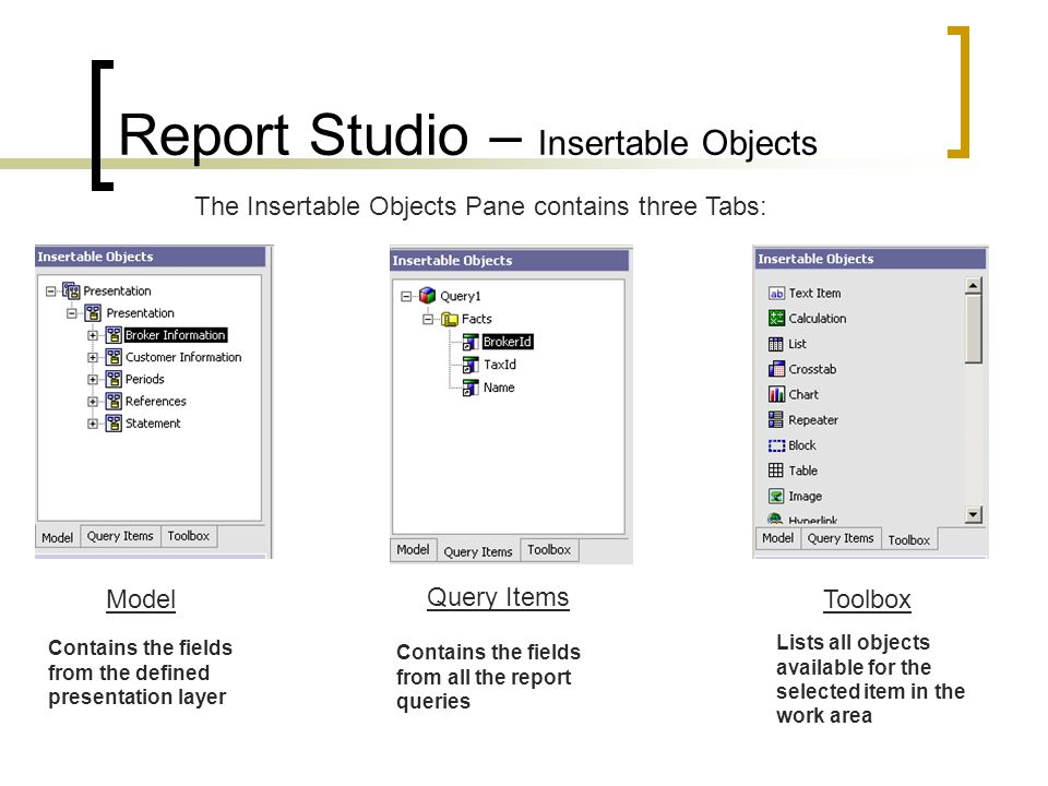Report Studio – Insertable Objects The Insertable Objects Pane contains three Tabs: Model Query Items Toolbox Contains the fields from the defined presentation layer Contains the fields from all the report queries Lists all objects available for the selected item in the work area