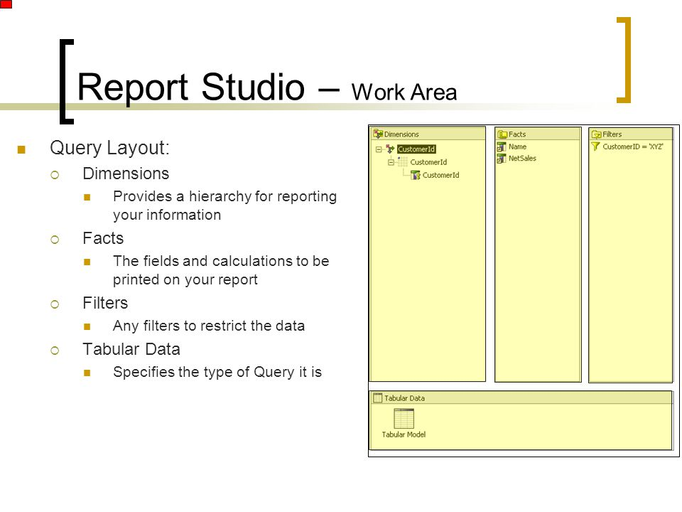 Report Studio – Work Area Query Layout:  Dimensions Provides a hierarchy for reporting your information  Facts The fields and calculations to be printed on your report  Filters Any filters to restrict the data  Tabular Data Specifies the type of Query it is