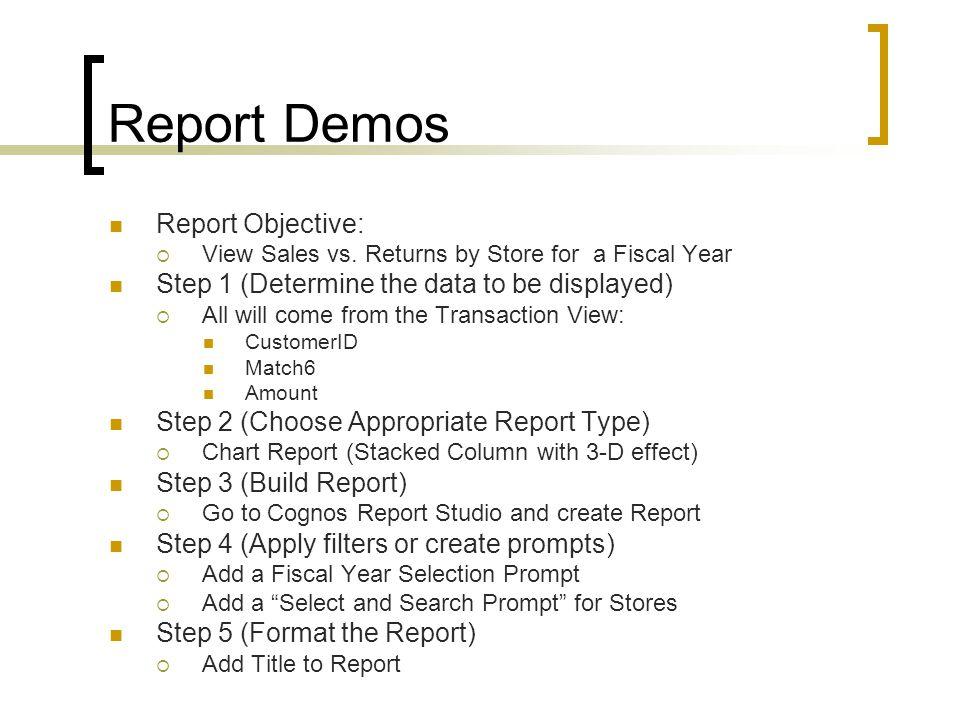 Report Demos Report Objective:  View Sales vs.