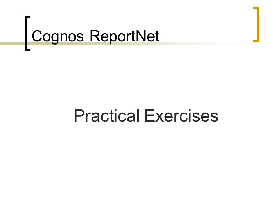 Cognos ReportNet Practical Exercises