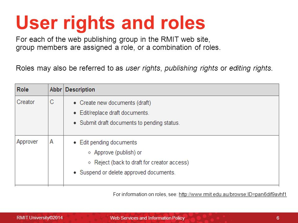 RMIT University©2014 Web Services and Information Policy 7 Web document types Homepage Every web publishing group may have only one home page that appears at the top level of its publishing group.