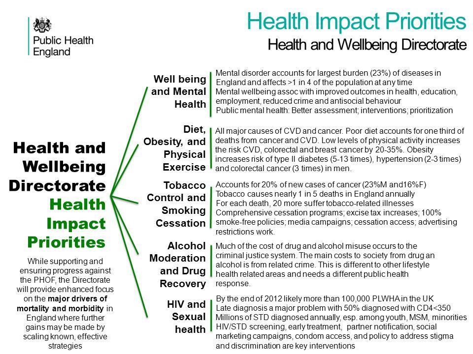 Health Impact Priorities Health and Wellbeing Directorate Health and Wellbeing Directorate Health Impact Priorities Well being and Mental Health Menta