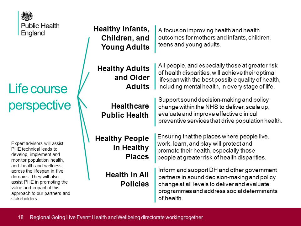 Life course perspective 18Regional Going Live Event: Health and Wellbeing directorate working together Expert advisors will assist PHE technical leads