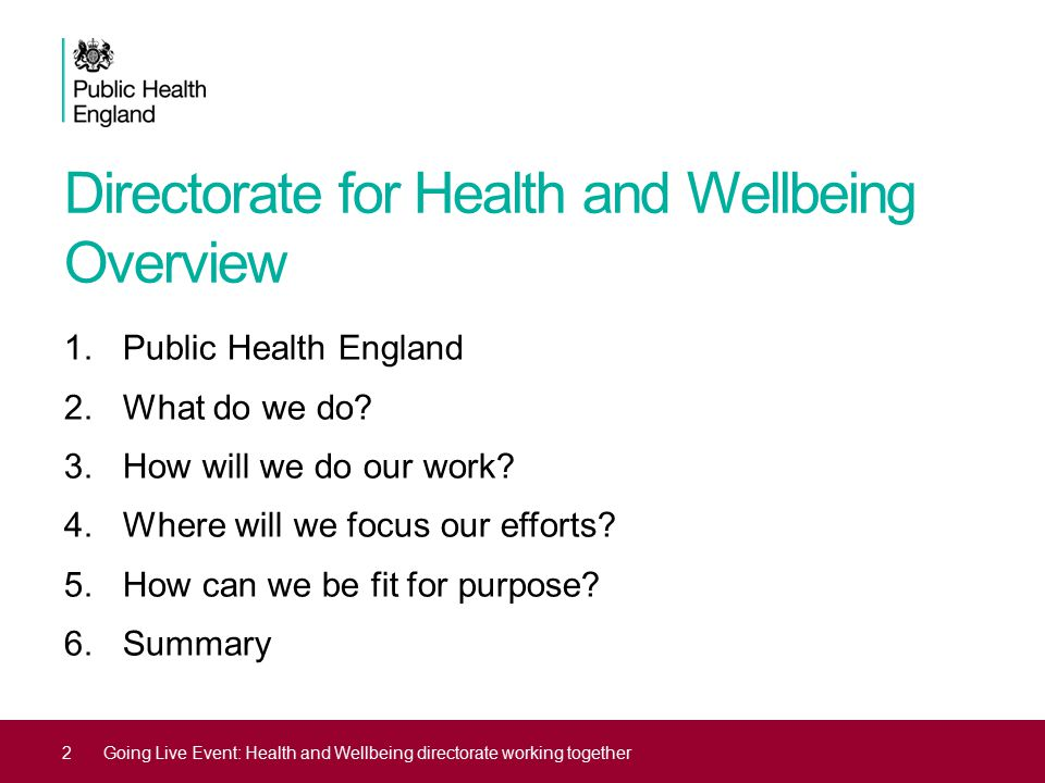Directorate for Health and Wellbeing Overview 1.Public Health England 2.What do we do? 3.How will we do our work? 4.Where will we focus our efforts? 5