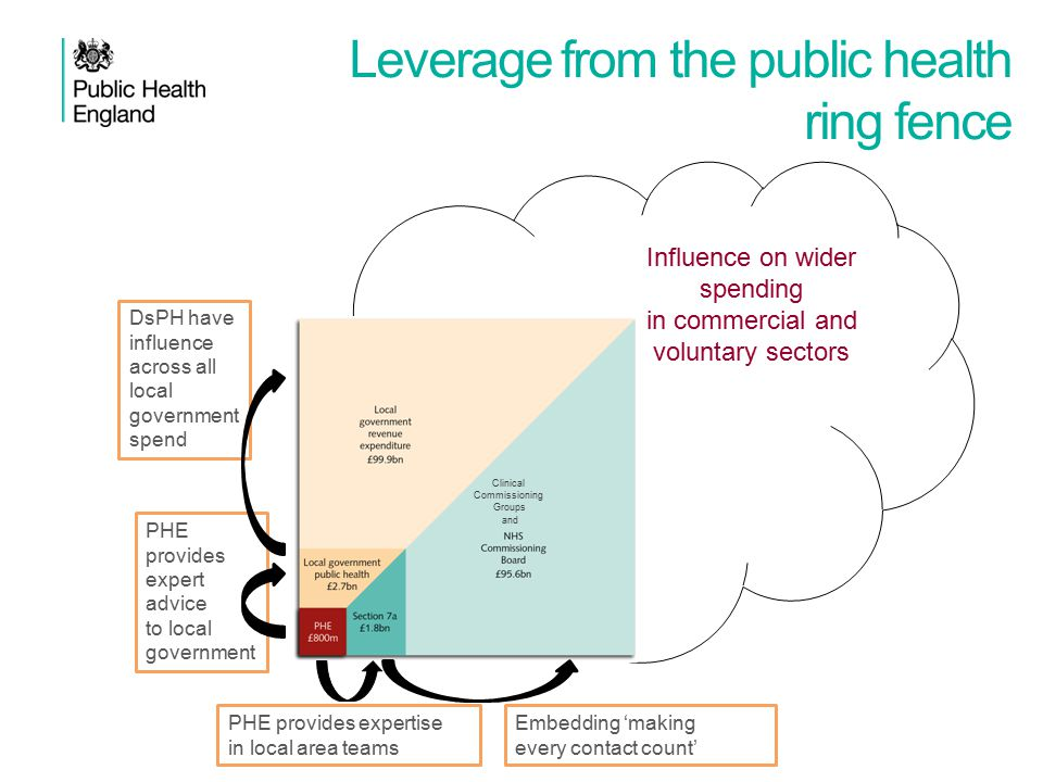 PHE provides expert advice to local government DsPH have influence across all local government spend PHE provides expertise in local area teams Embedding 'making every contact count' Leverage from the public health ring fence Influence on wider spending in commercial and voluntary sectors Clinical Commissioning Groups and