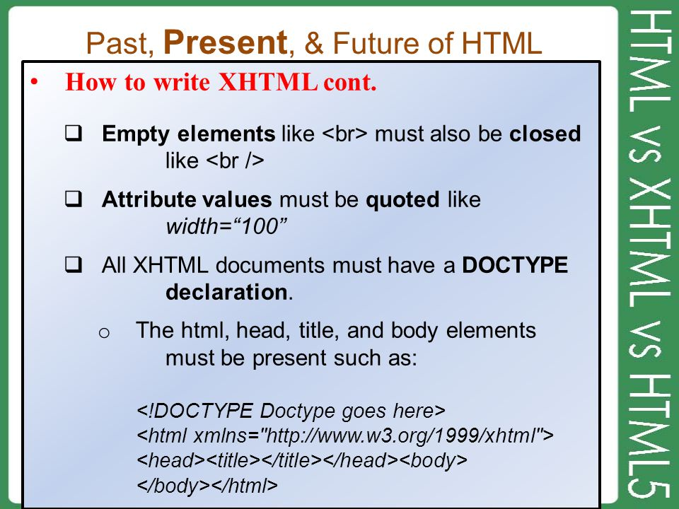 Past, Present, & Future of HTML How to write XHTML cont.