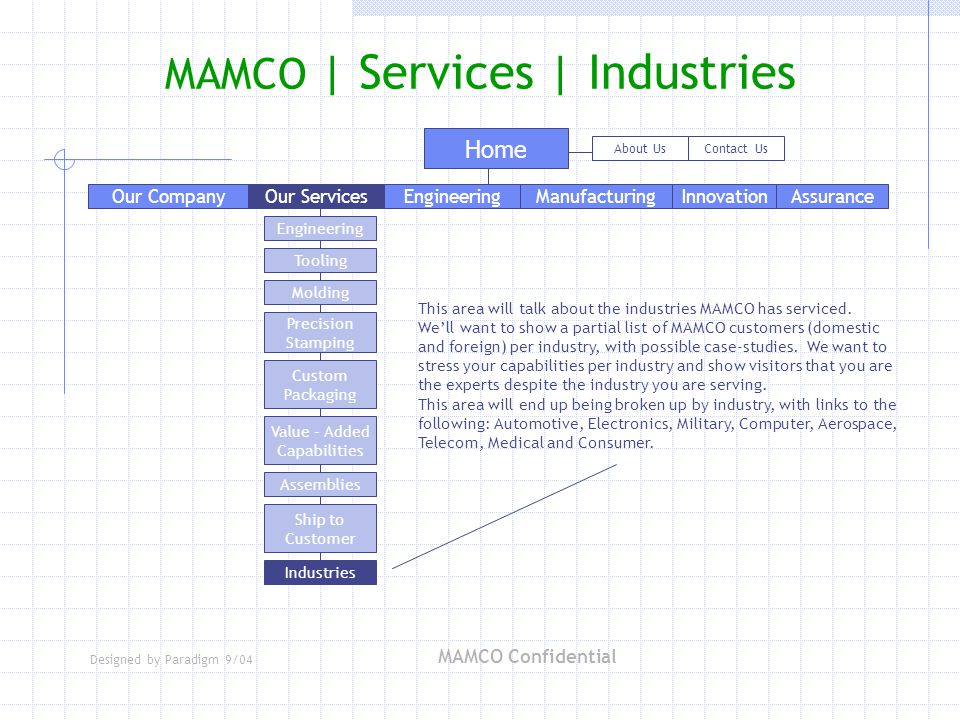 Designed by Paradigm 9/04 MAMCO Confidential Home About UsContact Us Engineering Tooling Molding Precision Stamping Custom Packaging Industries Assemblies Value – Added Capabilities Ship to Customer MAMCO | Services | Industries Our ServicesEngineeringManufacturingAssuranceInnovationOur Company This area will talk about the industries MAMCO has serviced.