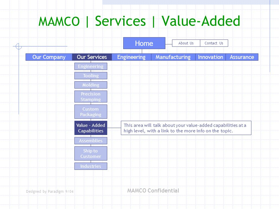 Designed by Paradigm 9/04 MAMCO Confidential Home About UsContact Us Engineering Tooling Molding Precision Stamping Custom Packaging Industries Assemblies Value – Added Capabilities Ship to Customer MAMCO | Services | Value-Added Our ServicesEngineeringManufacturingAssuranceInnovationOur Company This area will talk about your value-added capabilities at a high level, with a link to the more info on the topic.