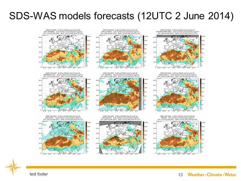 SDS-WAS models forecasts (12UTC 2 June 2014) test footer 13 ×× × ×× × ×× ×