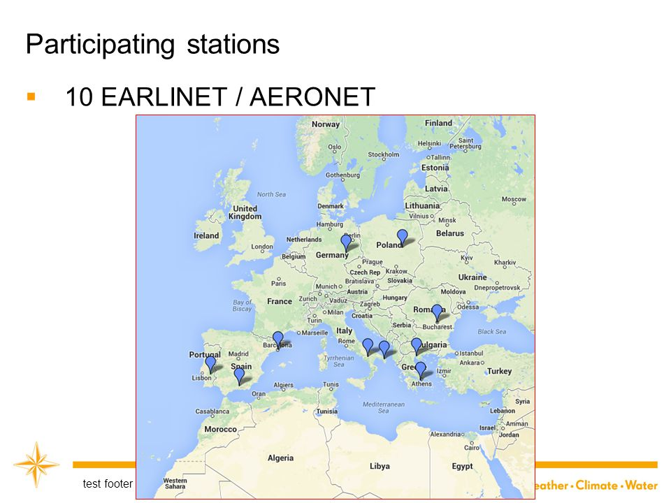 Participating stations  10 EARLINET / AERONET test footer 17