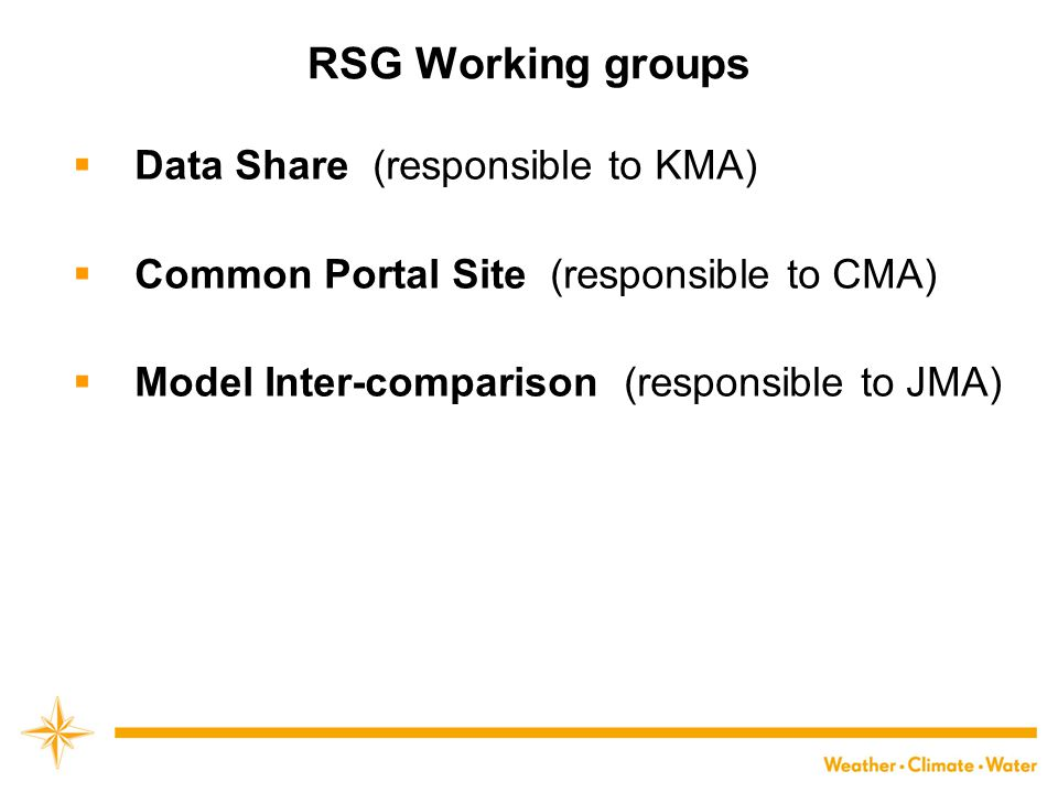 RSG Working groups  Data Share (responsible to KMA)  Common Portal Site (responsible to CMA)  Model Inter-comparison (responsible to JMA)