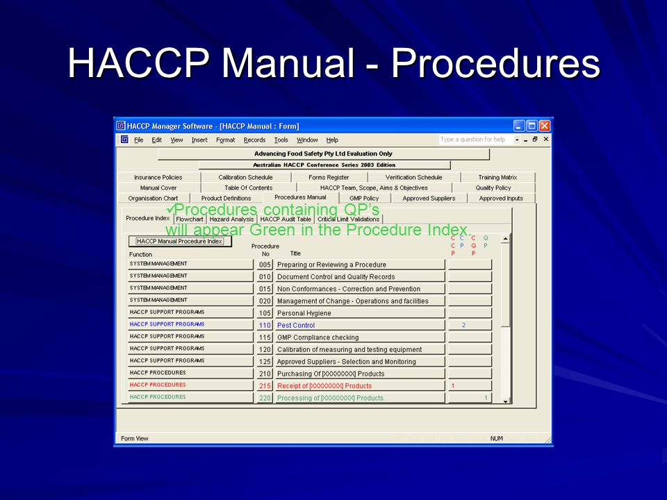 HACCP Manual - Procedures Procedures containing QP's will appear Green in the Procedure Index.