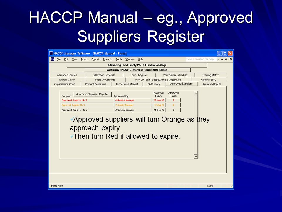 HACCP Manual – eg., Calibration Register Items requiring calibration will turn Orange as they approach expiry.