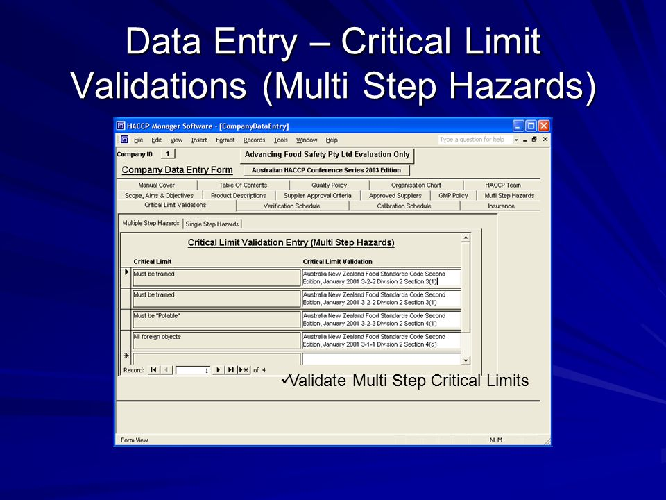 Data Entry – Critical Limit Validations (Multi Step Hazards) Validate Multi Step Critical Limits