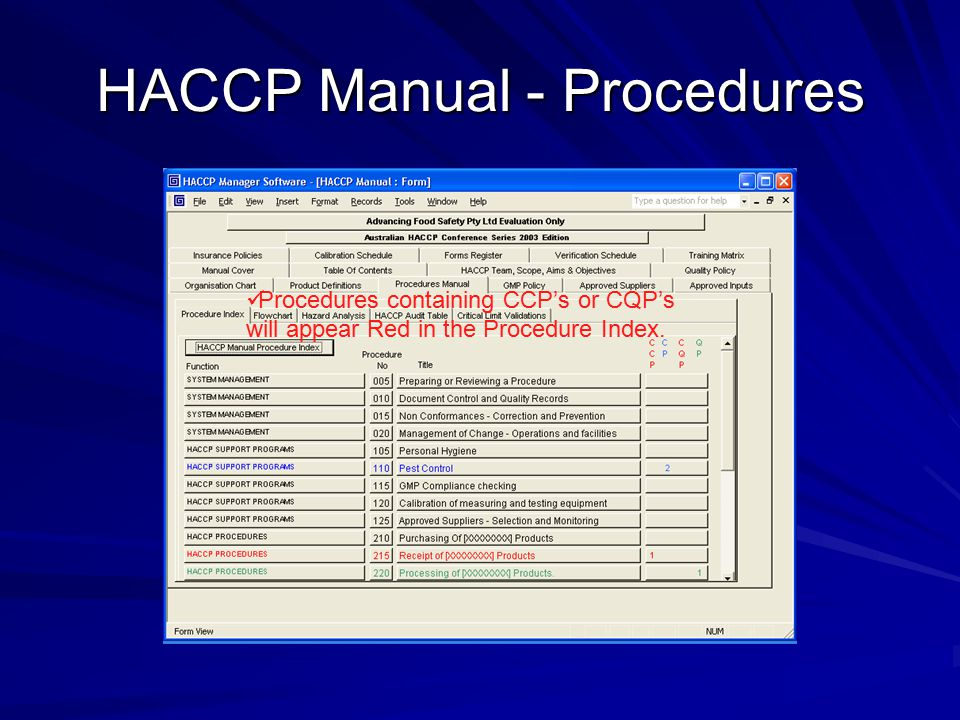 HACCP Manual - Procedures Procedures containing CCP's or CQP's will appear Red in the Procedure Index.