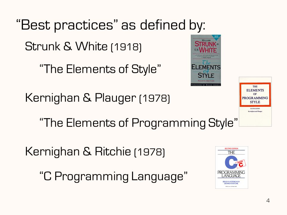 Best practices as defined by: Strunk & White (1918) The Elements of Style Kernighan & Plauger (1978) The Elements of Programming Style Kernighan & Ritchie (1978) C Programming Language 4